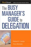 The Busy Manager's Guide to Delegation book summary