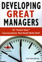 Developing Great Managers book summary