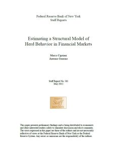 Estimating a Structural Model of Herd Behavior in Financial Markets summary