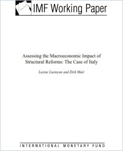 Assessing the Macroeconomic Impact of Structural Reforms: The Case of Italy summary