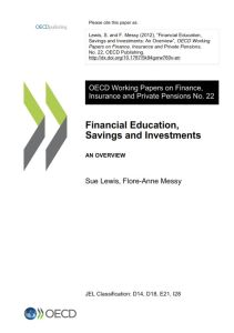 Financial Education, Savings and Investments summary