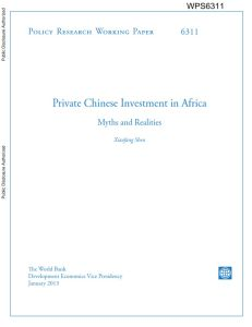 Private Chinese Investment in Africa summary