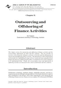 Outsourcing and Offshoring Finance Activities summary