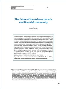 Future of the Asian Economic and Financial Community summary
