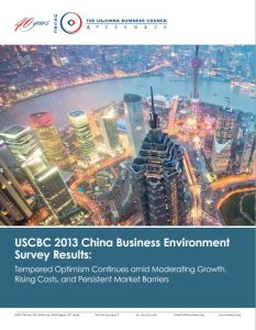 USCBC 2013 China Business Environment  Survey Results summary