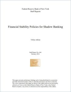 Financial Stability Policies for Shadow Banking  summary