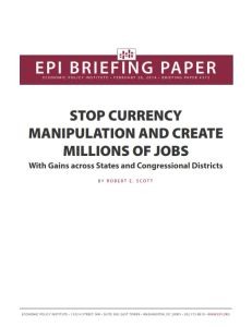 Stop Currency Manipulation and Create Millions of Jobs summary