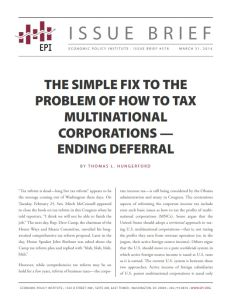 The Simple Fix to the Problem of How to Tax Multinational Corporations – Ending Deferral summary