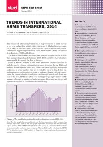 Trends in International Arms Transfers, 2014 summary
