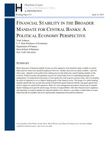 Financial Stability in the broader Mandate for Central Banks