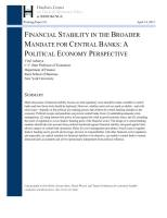 Financial Stability in the broader Mandate for Central Banks summary