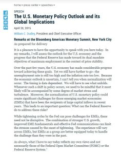 The U.S. Monetary Policy Outlook and its Global Implications  summary