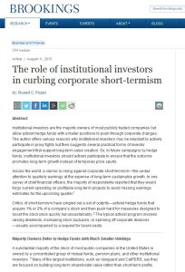 The Role of Institutional Investors in Curbing Corporate Short-Termism