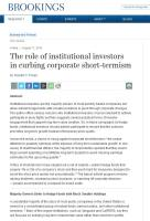 The Role of Institutional Investors in Curbing Corporate Short-Termism summary