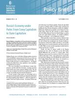 Russia's Economy under Putin summary