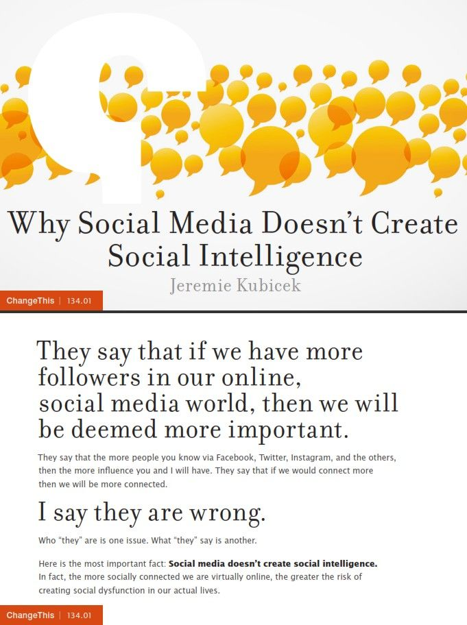 Image of: Why Social Media Doesn't Create Social Intelligence