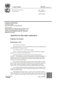Adoption of the Paris Agreement. Proposal by the President of the Conference of the Parties. summary