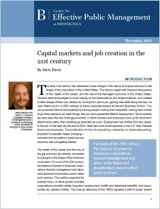 Capital Markets and Job Creation in the 21st Century summary