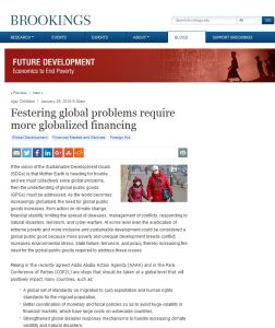 Festering Global Problems Require More Globalized Financing summary