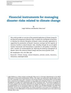 Financial Instruments for Managing Disaster Risks Related to Climate Change summary