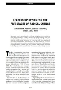 Leadership Styles for the Five Stages of Radical Change summary