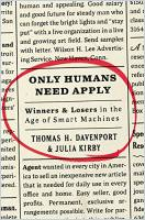 Only Humans Need Apply book summary