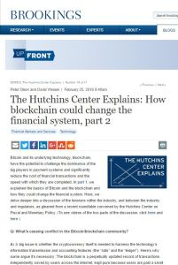 The Hutchins Center Explains: How Blockchain Could Change the Financial System, Part 2 summary