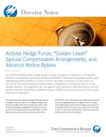 "Activist Hedge Funds, ""Golden Leash"" Special Compensation Arrangements, and Advance Notice Bylaws summary"