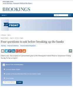 Four Questions to Ask Before Breaking Up the Banks summary