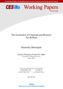 The Economics of Corporate and Business Tax Reform summary