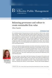 Balancing Governance and Culture to Create Sustainable Firm Value summary