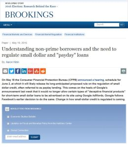 "Understanding Non-Prime Borrowers and the Need to Regulate Small Dollar and ""Payday"" Loans"
