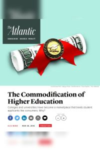 The Commodification of Higher Education summary