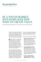 In a Tough Market, Investors Seek New Ways to Create Value