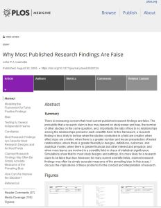 Why Most Published Research Findings Are False summary