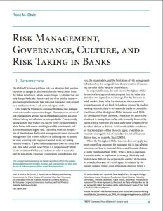 Risk Management, Governance, Culture, and Risk Taking in Banks summary