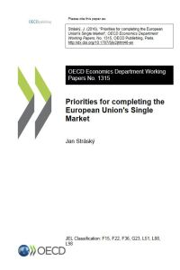 Priorities for Completing the European Union's Single Market summary