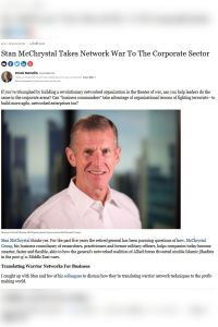 Stan McChrystal Takes Network War To The Corporate Sector summary