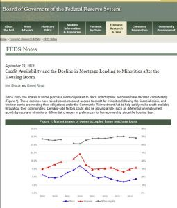 Credit Availability and the Decline in Mortgage Lending to Minorities after the Housing Boom summary