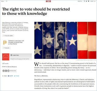 The Right to Vote Should Be Restricted to Those with Knowledge