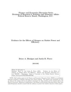 Evidence for the Effects of Mergers on Market Power and Efficiency summary