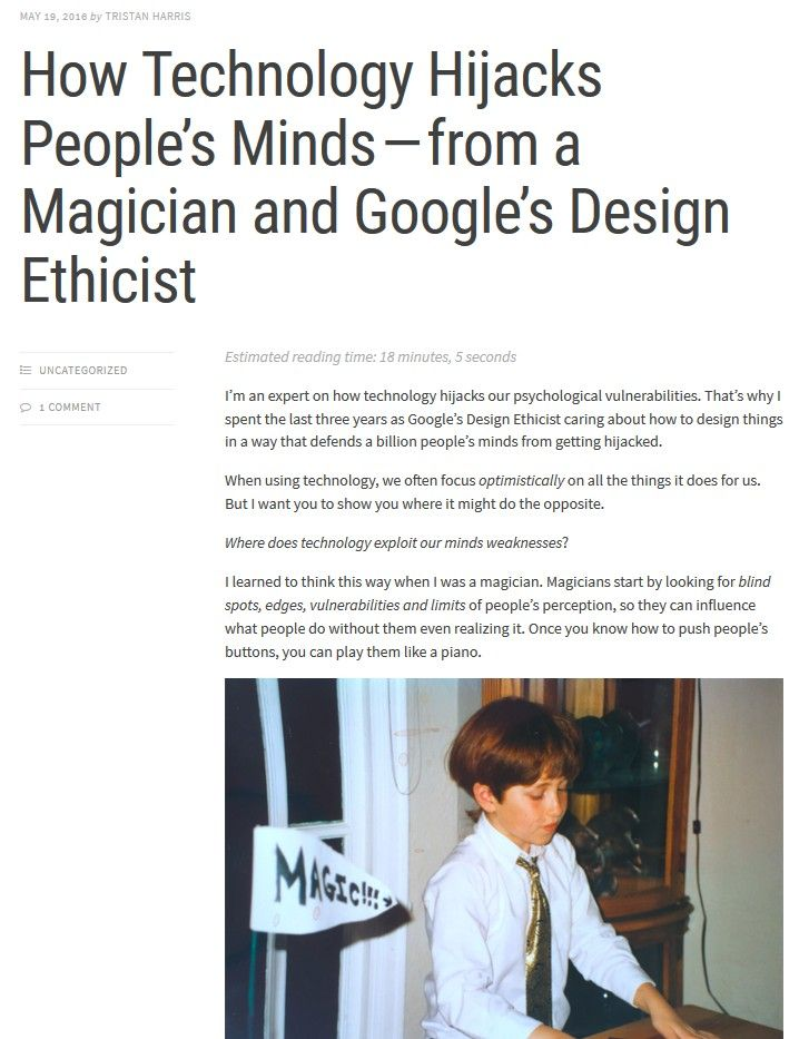 Image of: How Technology Hijacks People's Minds – from a Magician and Google's Design Ethicist