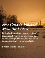 Free Cash in Finland. Must Be Jobless.