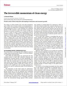 The Irreversible Momentum of Clean Energy summary