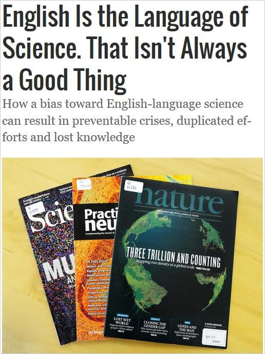 Image of: English Is the Language of Science. That Isn't Always a Good Thing