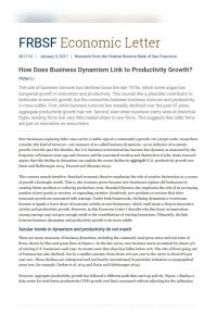 How Does Business Dynamism Link to Productivity Growth? summary