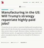 Manufacturing in the US summary