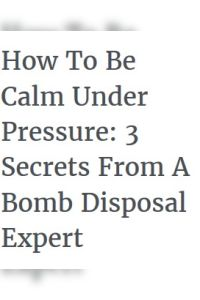 How To Be Calm Under Pressure summary