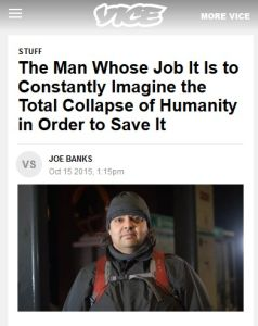 The Man Whose Job It Is to Constantly Imagine the Total Collapse of Humanity in Order to Save It summary