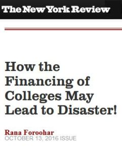How the Financing of Colleges May Lead to Disaster! summary